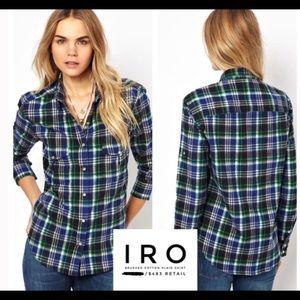IRO brushed cotton plaid Sylvia shirt